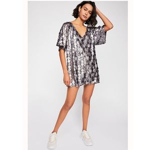 NWOT Free People Sequin T-Shirt Mini Dress